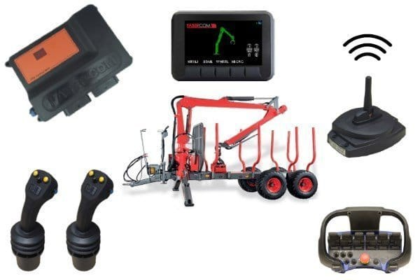 integrated control systems for forestry crane or timber loader