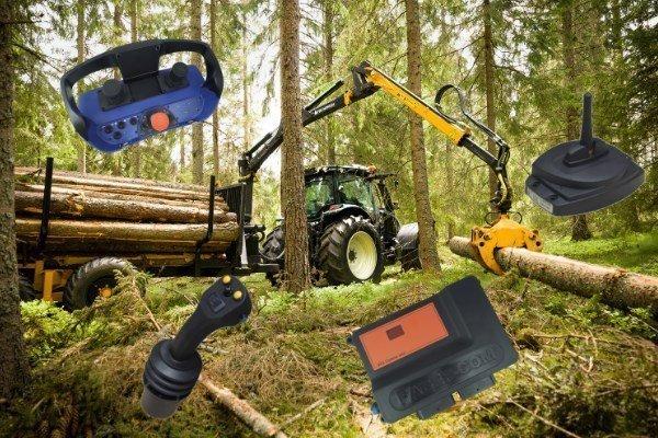 controllo per gru forestale su rimorchio Faber-Com
